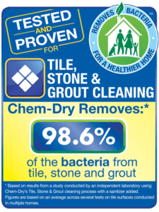 Chem-Dry removes 98.6% of the bacteria from tile, stone, and grout