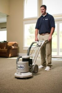 Zachary's Chem Dry tech using carbonated carpet cleaning in Jacksonville